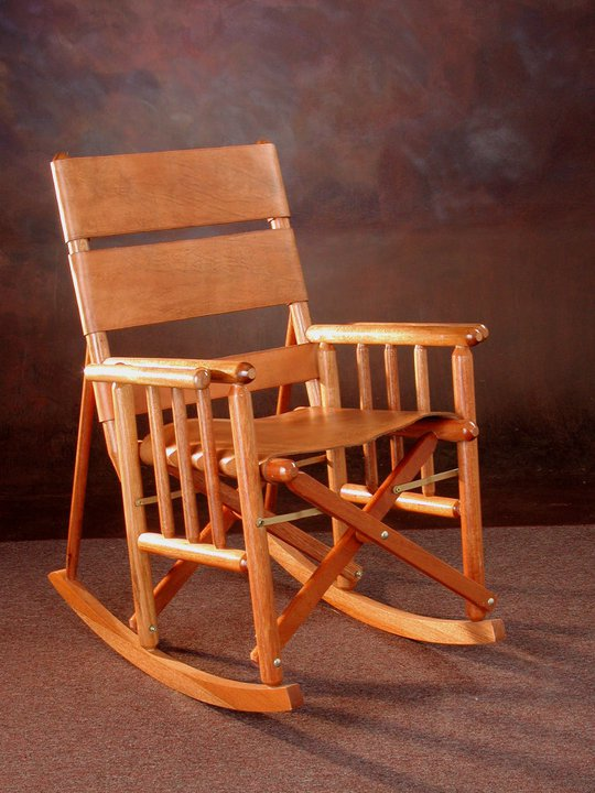 costa rica rocking chair low back natural leather and caobilla wood