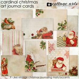 Cardinal Christmas Art Journal Cards