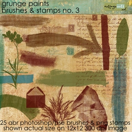 Grunge Paints 3 Brushes & Stamps