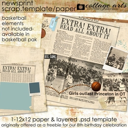 Newsprint Scrap Template and Paper