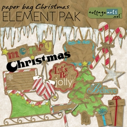 Paper Bag Christmas Element Pak