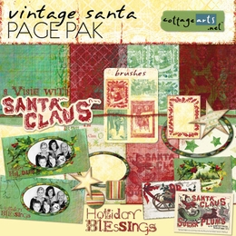 Vintage Santa Page Pak w/Brushes & Holiday Cards