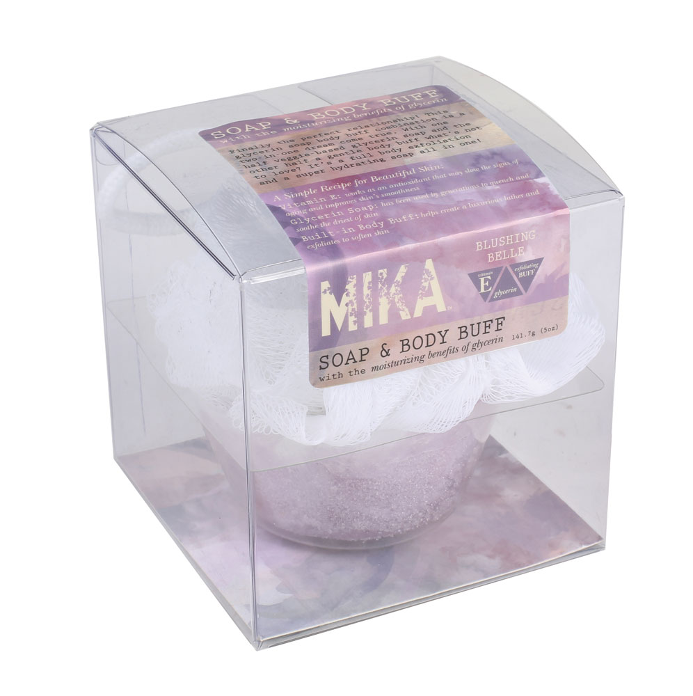 Blushing Belle MIKA Sugar Scrub from WoodWick Superloofah Exfoliating Mesh Sponge by Earth Therapeutics (PACK OF 2)