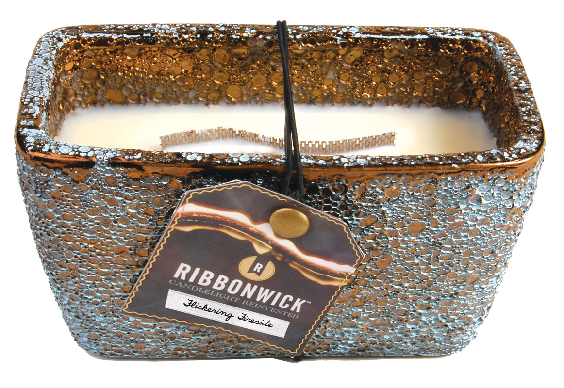 Flickering Fireside Rectangle Ribbonwick Scented Candle