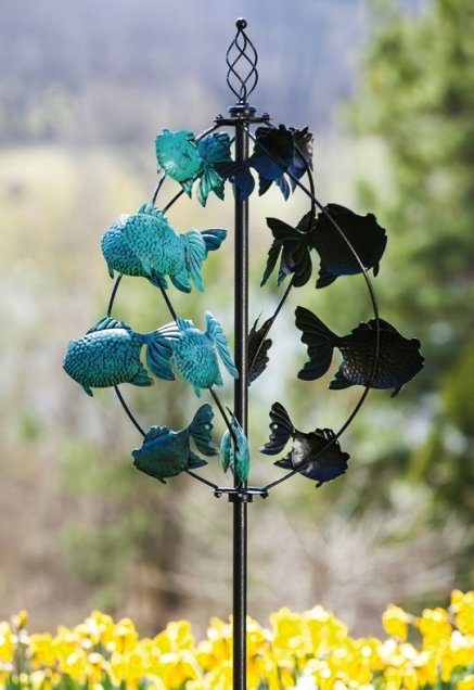 School of Fish Kinetic Garden Spinner by Evergreen