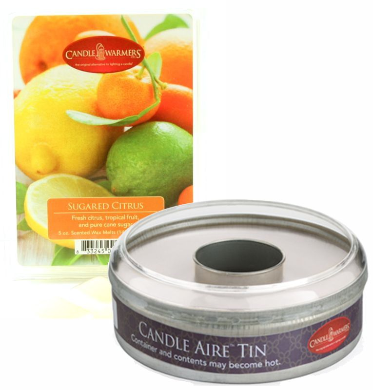 Sugared Citrus Candle Aire 5 oz Scented Wax Refill with Empty