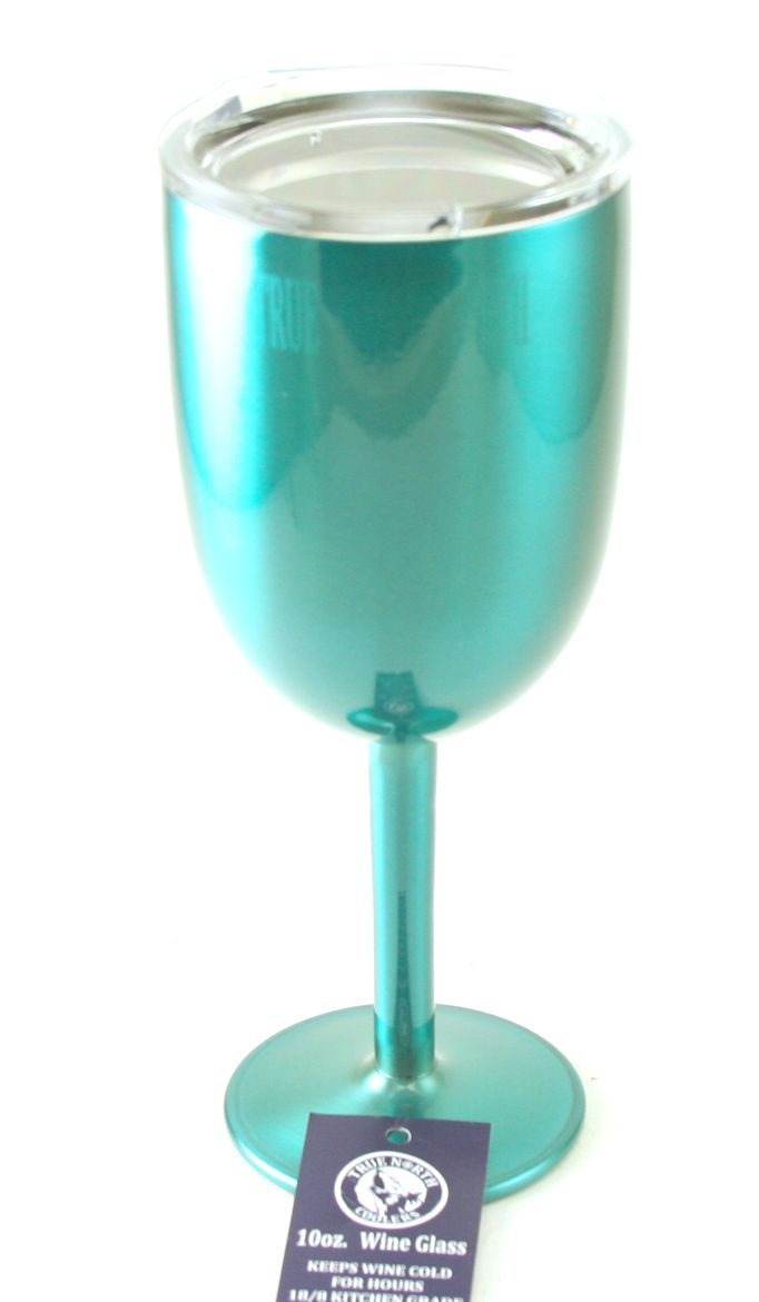 Teal Wine Glass Double Walled Vacuum Insulated Stainless