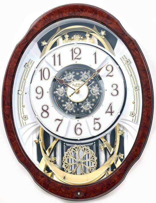 Woodgrain Marvelous Rhythm Magic Motion Musical Clock