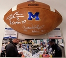 Charles Woodson / Desmond Howard - Autographed Wilson Official Leather Michigan Wolverines NCAA Football - F1008 - PSA / BAS