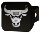 "Chicago Bulls NBA 2"" Black Chrome Metal Tow Hitch Receiver Cover 3D"