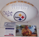 Chuck Noll - Autographed Pittsburgh Steelers Full Size Logo Football - PSA/DNA