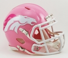 Denver Broncos Pink Speed Riddell Mini Football Helmet