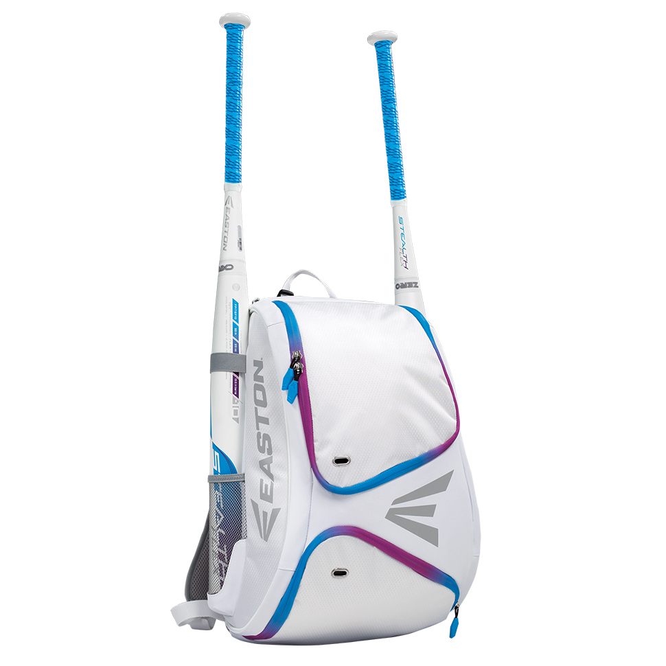 Easton E110bp Youth Baseball Softball Backpack Bat Bag White Blurple