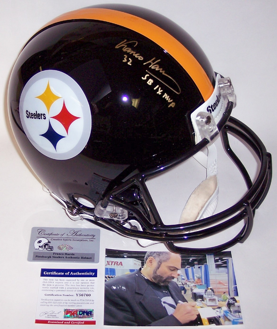 6fcf66098 Franco Harris - Autographed Official Full Size Riddell Authentic Proline  Football Helmet - Pittsburgh Steelers - PSA DNA