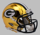 Green Bay Packers - Chrome Alternate Speed Riddell Full Size Authentic Proline Football Helmet