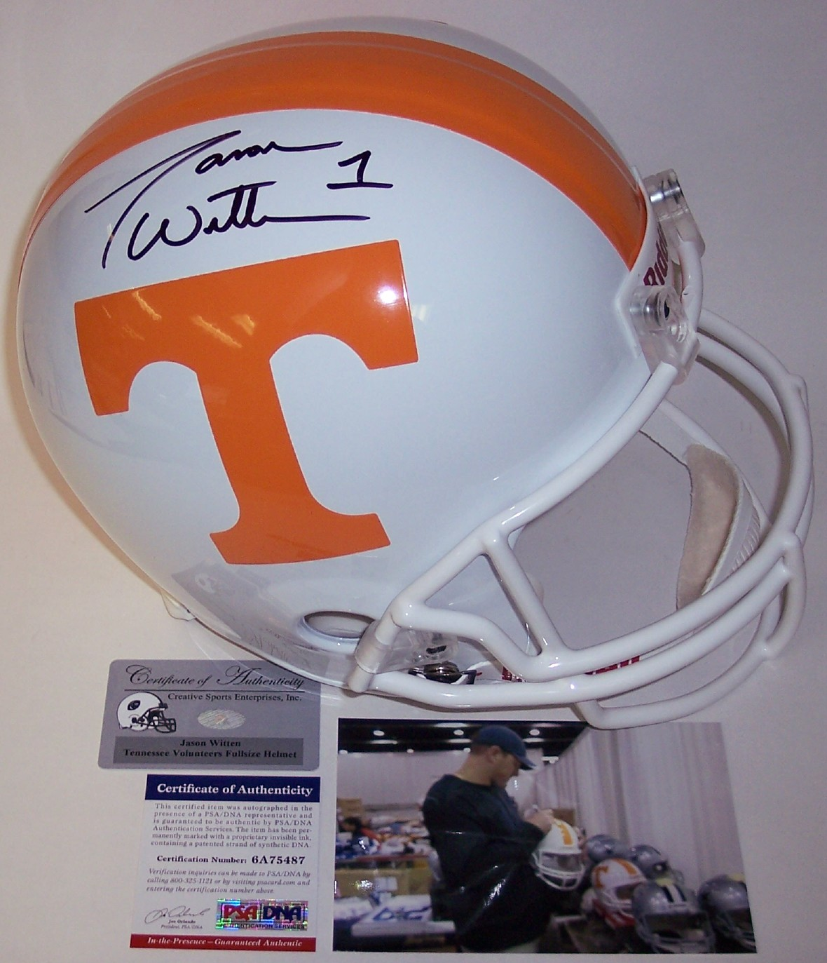 hot sale online d0dd8 8a390 Jason Witten - Autographed Full Size Riddell Deluxe Replica ...