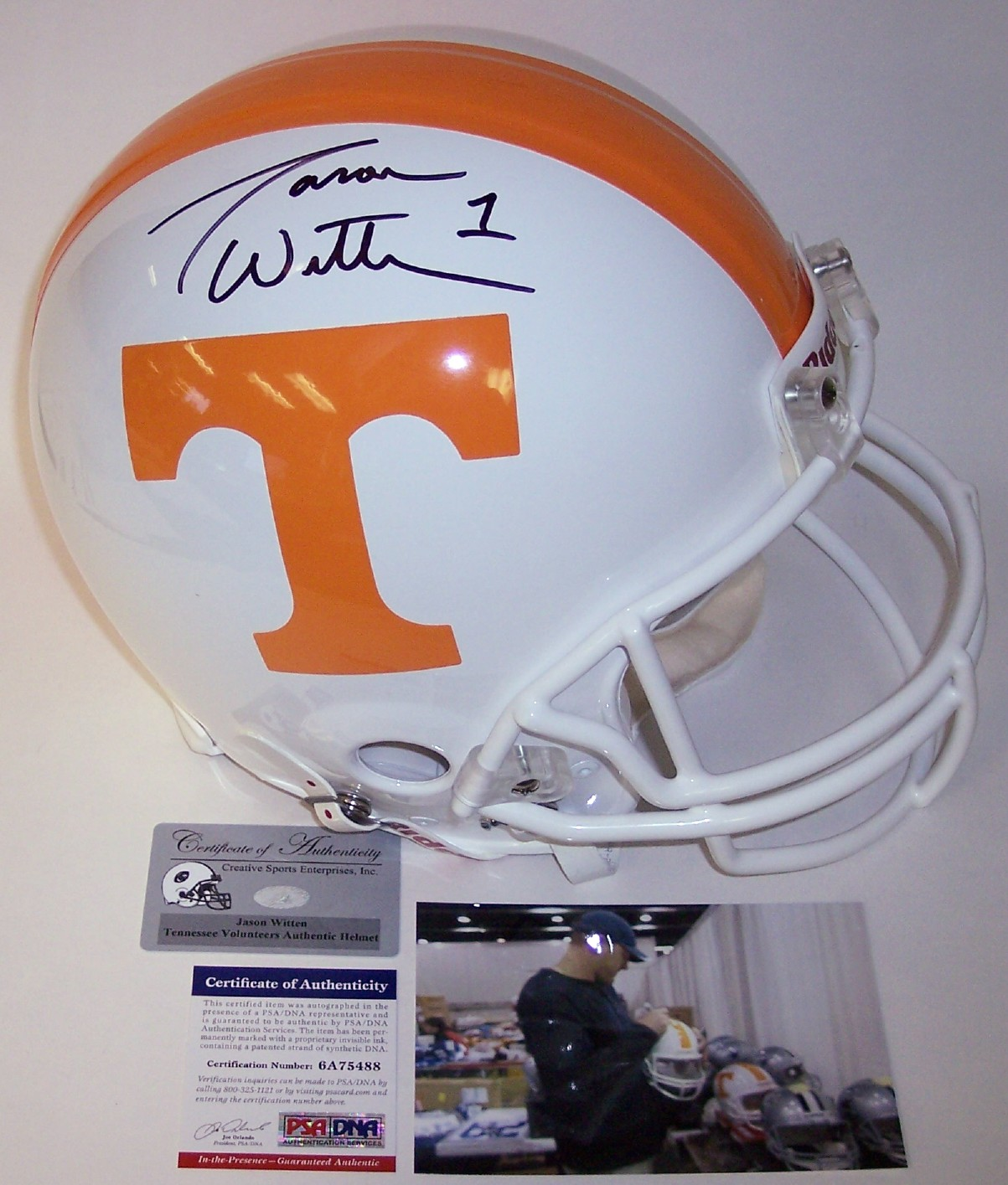 36db63af4 Jason Witten - Autographed Official Full Size Riddell Authentic Proline  Football Helmet - Tennessee Vols - PSA/DNA