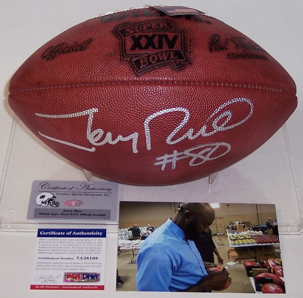d8aab5f72 Jerry Rice - Autographed Official Wilson Super Bowl 24 XXIV NFL Football -  PSA DNA