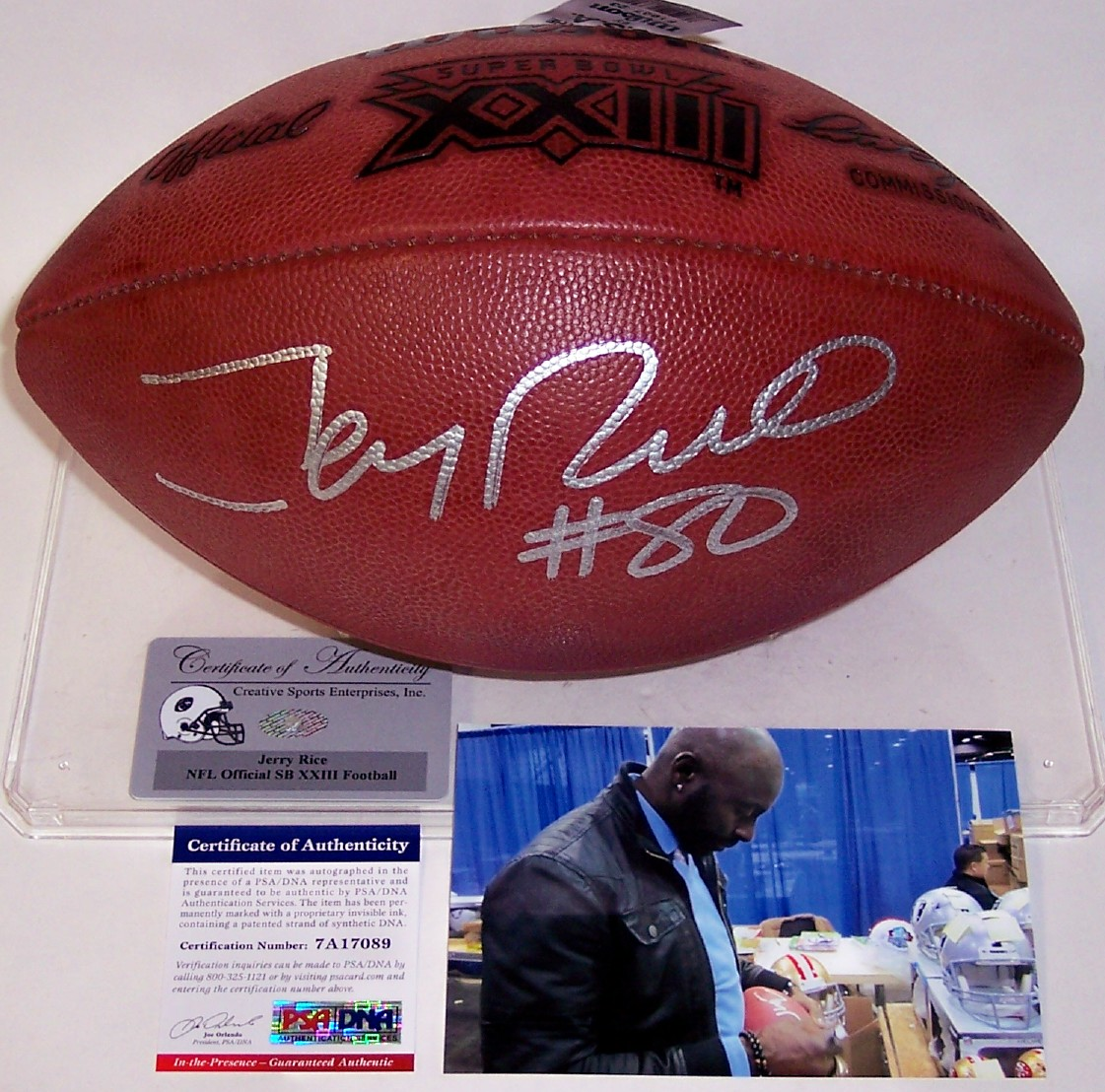 Jerry Rice - Autographed Official Wilson Super Bowl XXIII NFL Football -  PSA DNA fb9dc7abf