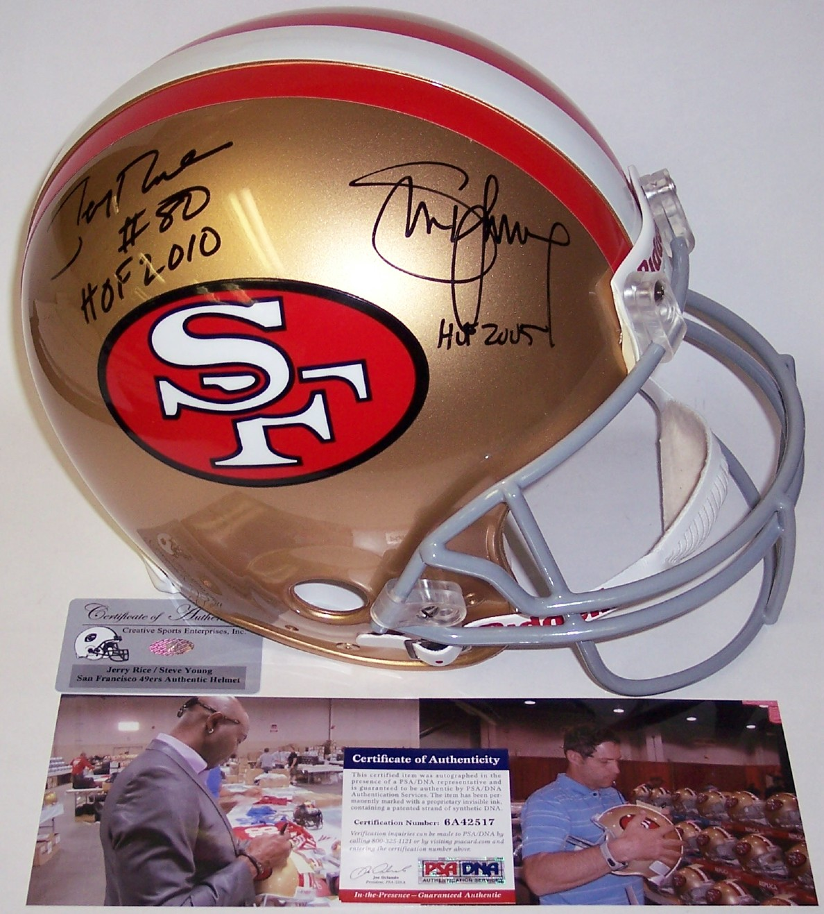 49b65fad0 Jerry Rice   Steve Young - Autographed Official Full Size Riddell Authentic  Proline Football Helmet - San Francisco 49ers ThrowBack - PSA DNA