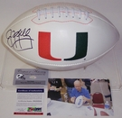 Jim Kelly - Autographed Miami Hurricanes Full Size Logo Football - PSA/DNA