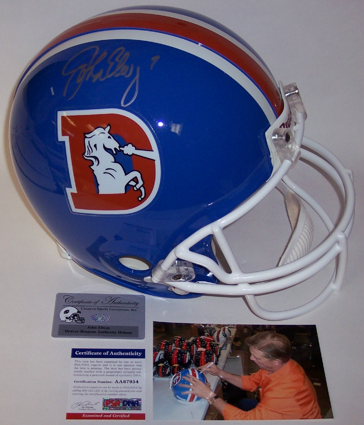 John Elway - Autographed Official Full Size Riddell Authentic Proline  Football Helmet - Denver Broncos Throwback - PSA DNA 2642aeeaf