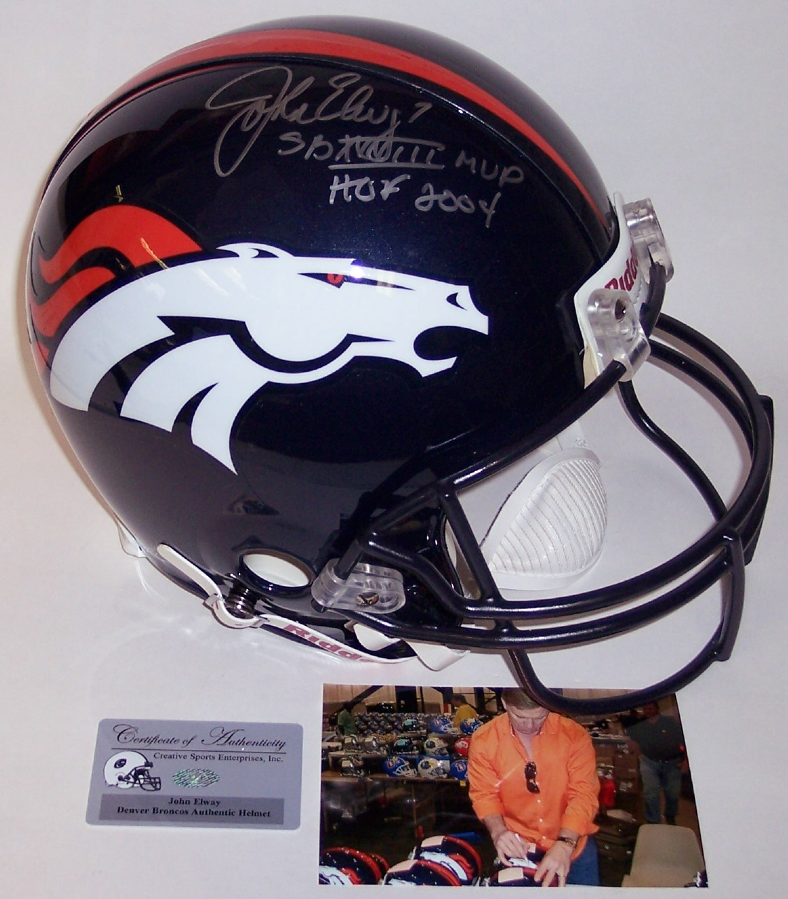 John Elway - Autographed Official Full Size Riddell Authentic Proline  Football Helmet w SB MVP   HOF - Denver Broncos 10fea7731