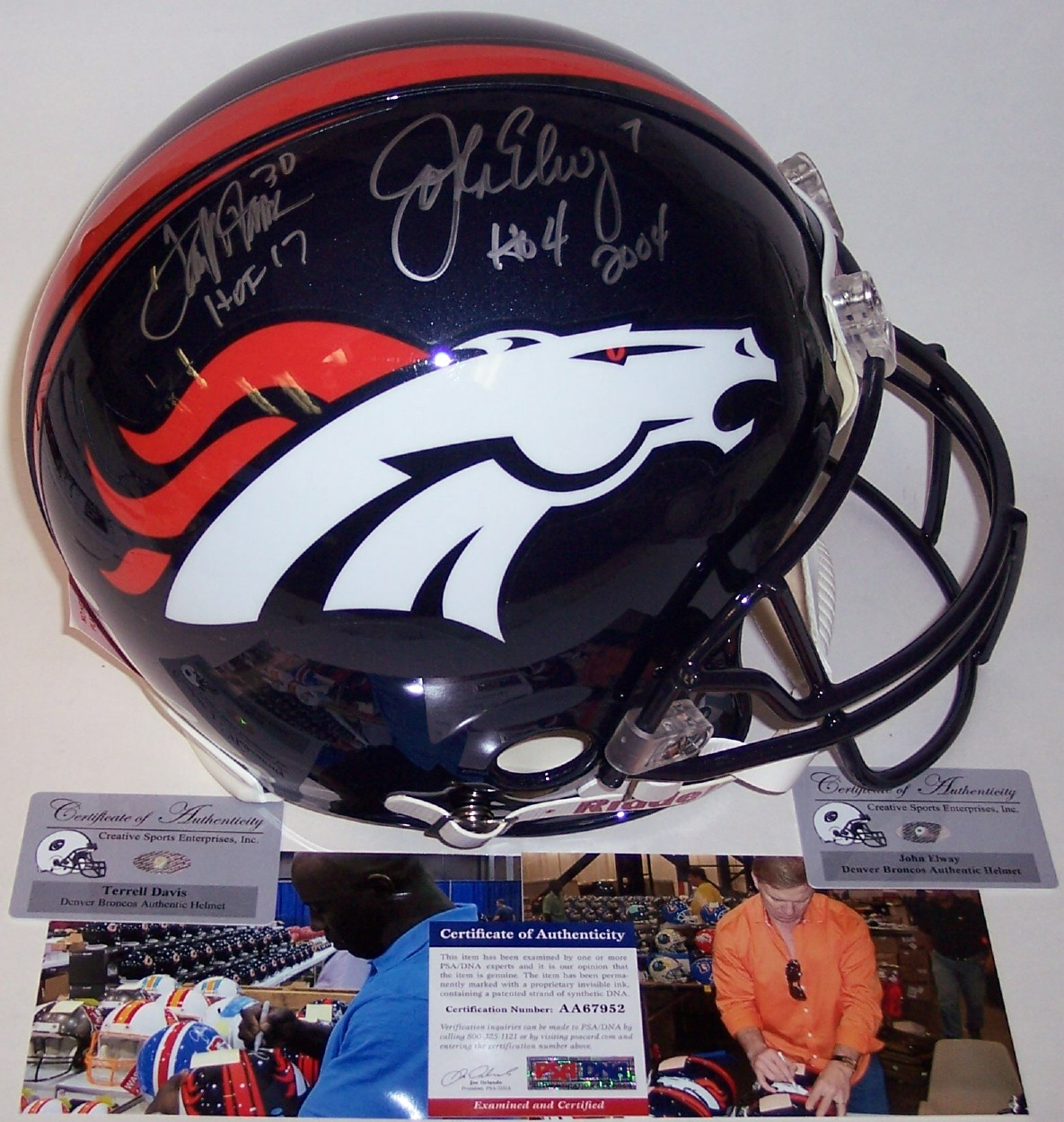 John Elway   Terrell Davis - Autographed Official Full Size Riddell  Authentic Proline Football Helmet - Denver Broncos PSA DNA 78045258d