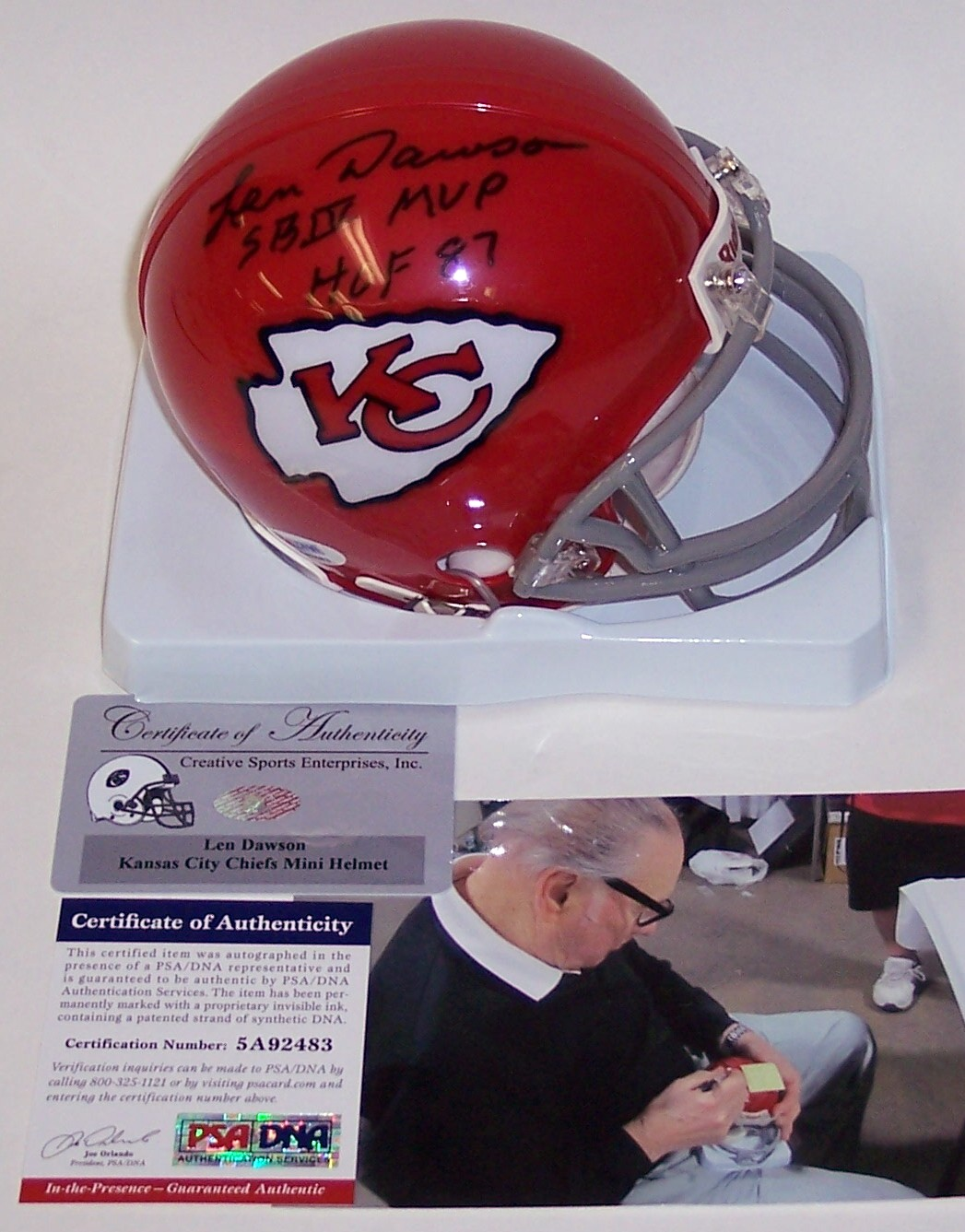 differently 9bcfb 149dd Len Dawson - Riddell - Autographed Mini Helmet - Kansas City ...