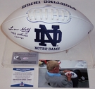 Lou Holtz - Autographed Notre Dame Full Size Logo Football - BAS Beckett