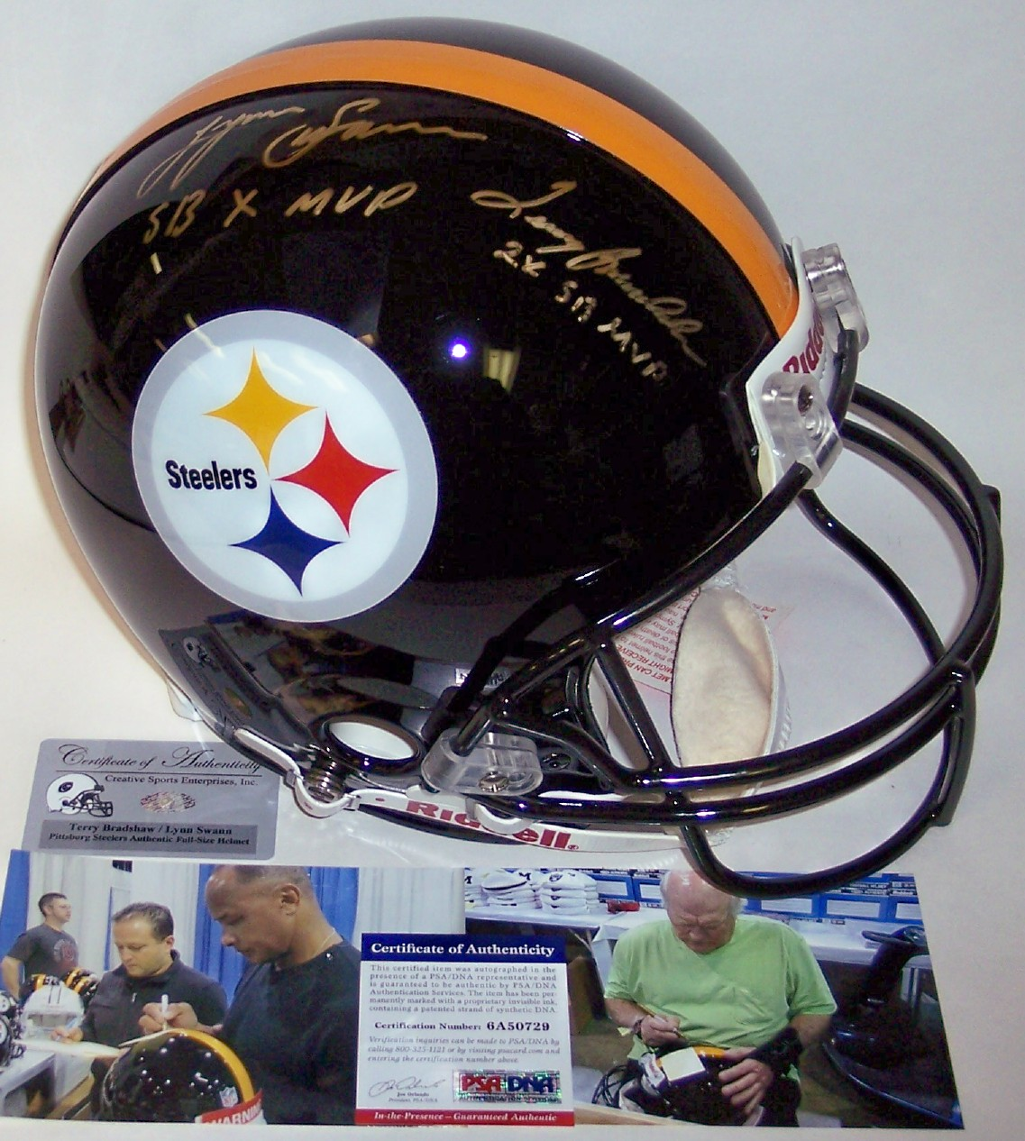 c752285ad Terry Bradshaw   Lynn Swann - Autographed Official Full Size Riddell  Authentic Proline Football Helmet - Pittsburgh Steelers - PSA DNA