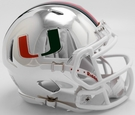 Miami Hurricanes - Chrome Alternate Speed Riddell Mini Football Helmet