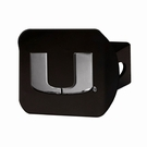 "Miami Hurricanes NCAA 2"" Black Chrome Metal Tow Hitch Receiver Cover 3D"