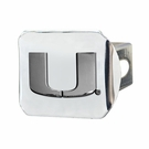 "Miami Hurricanes NCAA 2"" Chrome Metal Tow Hitch Receiver Cover 3D"