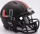 Miami Hurricanes Speed Black Matte Riddell Mini Football Helmet