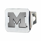 "Michigan Wolverines NCAA 2"" Chrome Metal Tow Hitch Receiver Cover 3D"