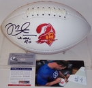 Mike Alstott - Autographed Tampa Bay Bucs Throwback Full Size Logo Football - PSA/DNA