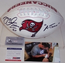Mike Alstott - Autographed Tampa Bay Bucs Full Size Logo Football w/A-Train - PSA/DNA