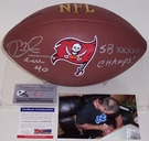 Mike Alstott - Autographed Tampa Bay Bucs Full Size Logo Football w/SB Champs - PSA/DNA
