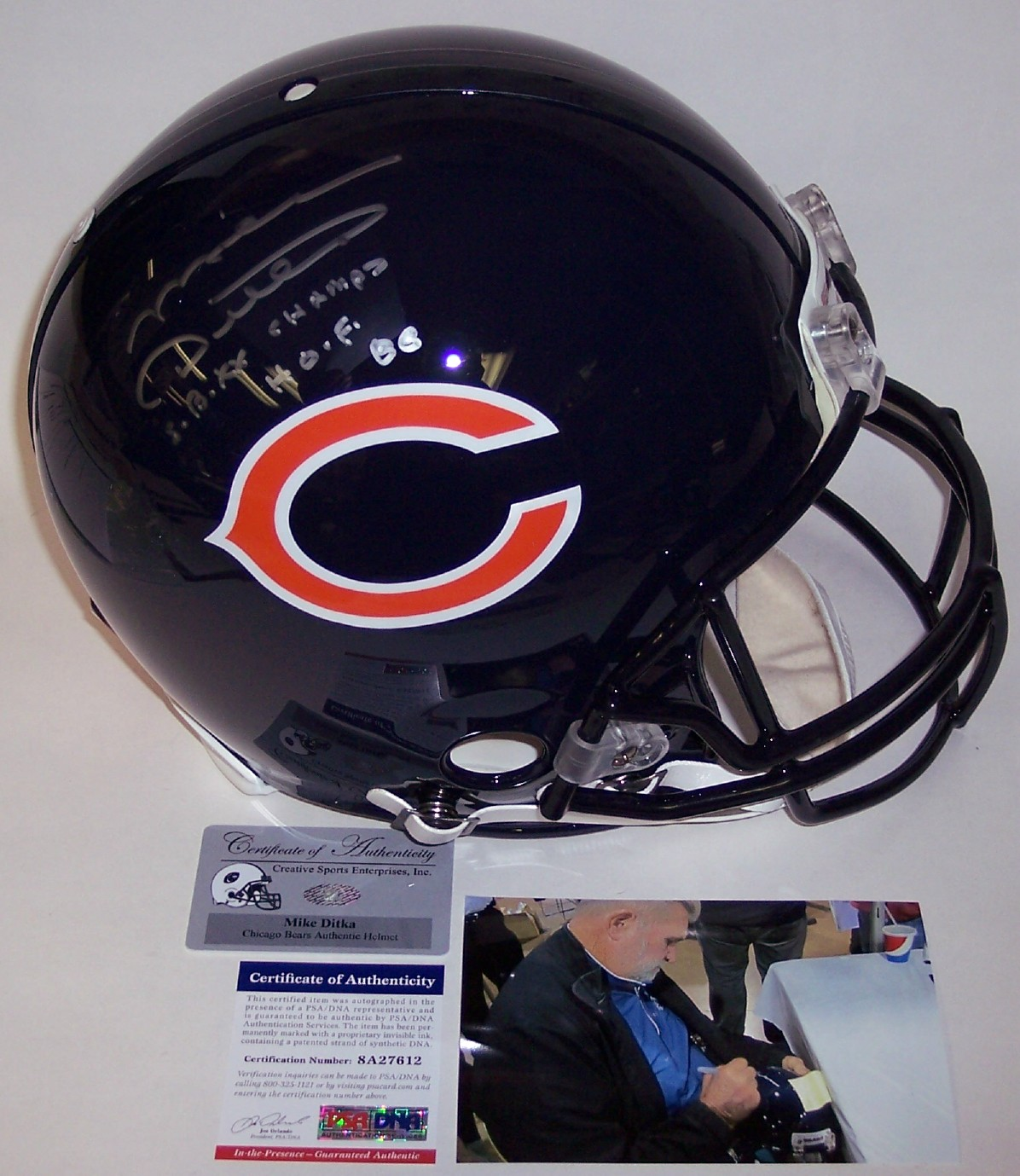 1038d9eeabb Mike Ditka - Autographed Official Full Size Riddell Authentic Proline  Football Helmet - Chicago Bears - PSA DNA