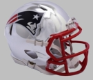 New England Patriots - Chrome Alternate Speed Riddell Full Size Authentic Proline Football Helmet