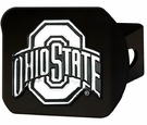 "Ohio State Buckeyes NCAA 2"" Black Chrome Metal Tow Hitch Receiver Cover 3D"