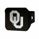 "Oklahoma Sooners NCAA 2"" Black Chrome Metal Tow Hitch Receiver Cover 3D"