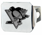 "Pittsburgh Penguins NCAA 2"" Chrome Metal Tow Hitch Receiver Cover 3D"