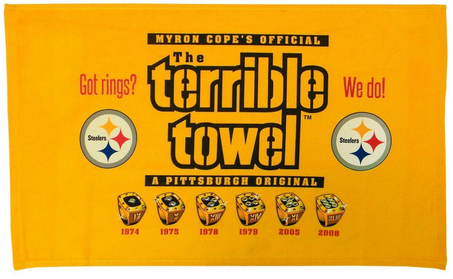 Image result for pittsburgh steelers terrible towel six rings?