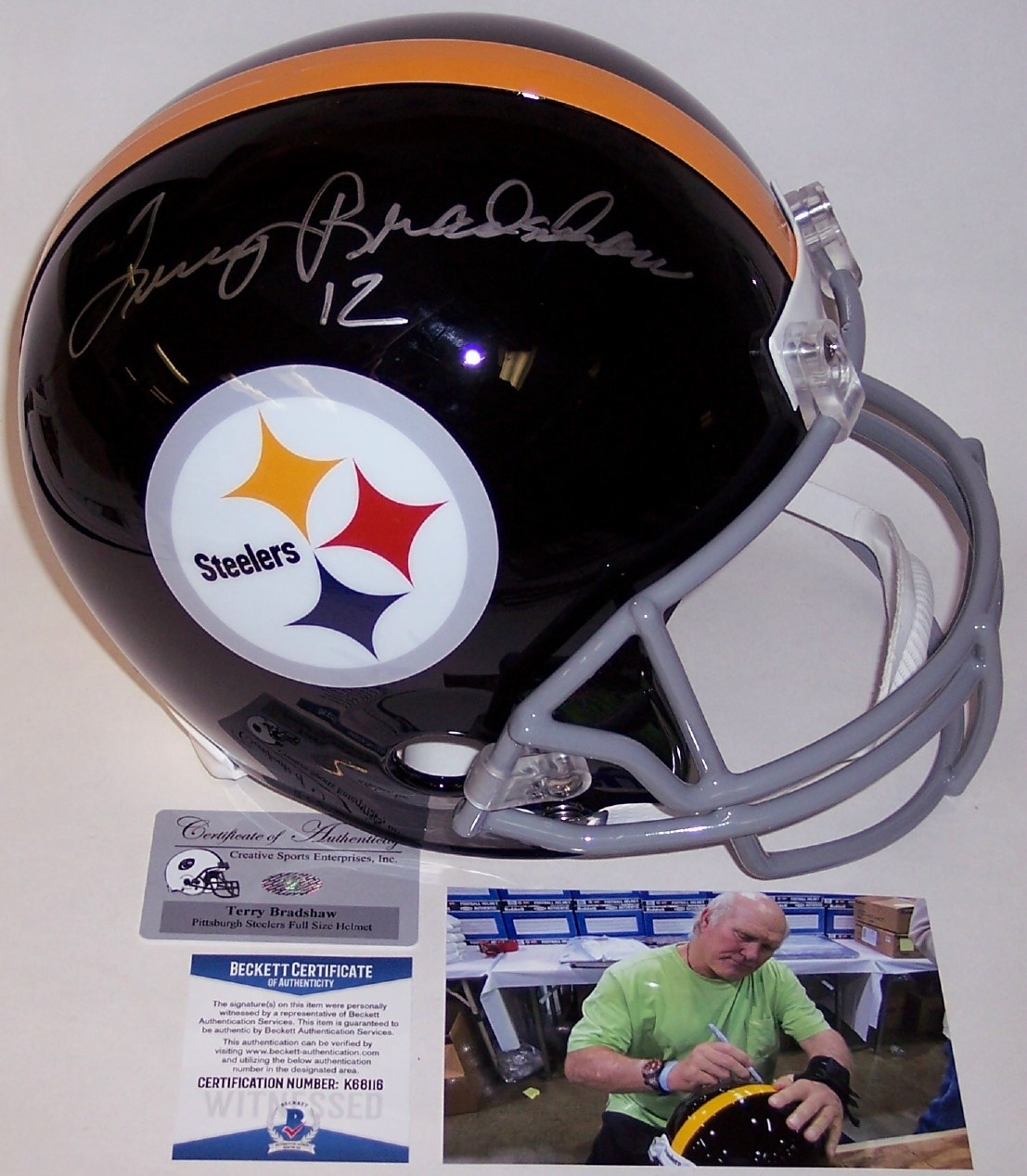 bb52cf84 Terry Bradshaw - Autographed Full Size Riddell Football Helmet - Pittsburgh  Steelers Throwback - BAS Beckett