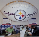 Terry Bradshaw / Franco Harris - Autographed Pittsburgh Steelers Full Size Logo Football - PSA/DNA