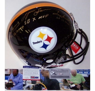 253800be6 Terry Bradshaw   Franco Harris   Lynn Swann - Autographed Official Full  Size Riddell Authentic Proline Football Helmet - Pittsburgh Steelers -  PSA DNA