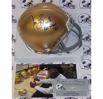 5d71b8f92ed Tim Brown - Riddell - Autographed Mini Helmet - Notre Dame Fighting Irish -  PSA DNA