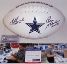 Troy Aikman and Roger Staubach - Autographed Dallas Cowboys Full Size Logo Football - PSA/DNA